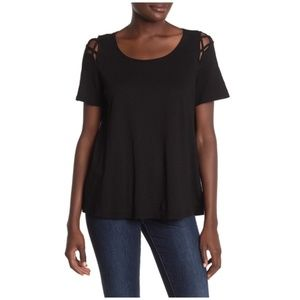 Michael Stars Crew Neck Cutout T-Shirt Black New